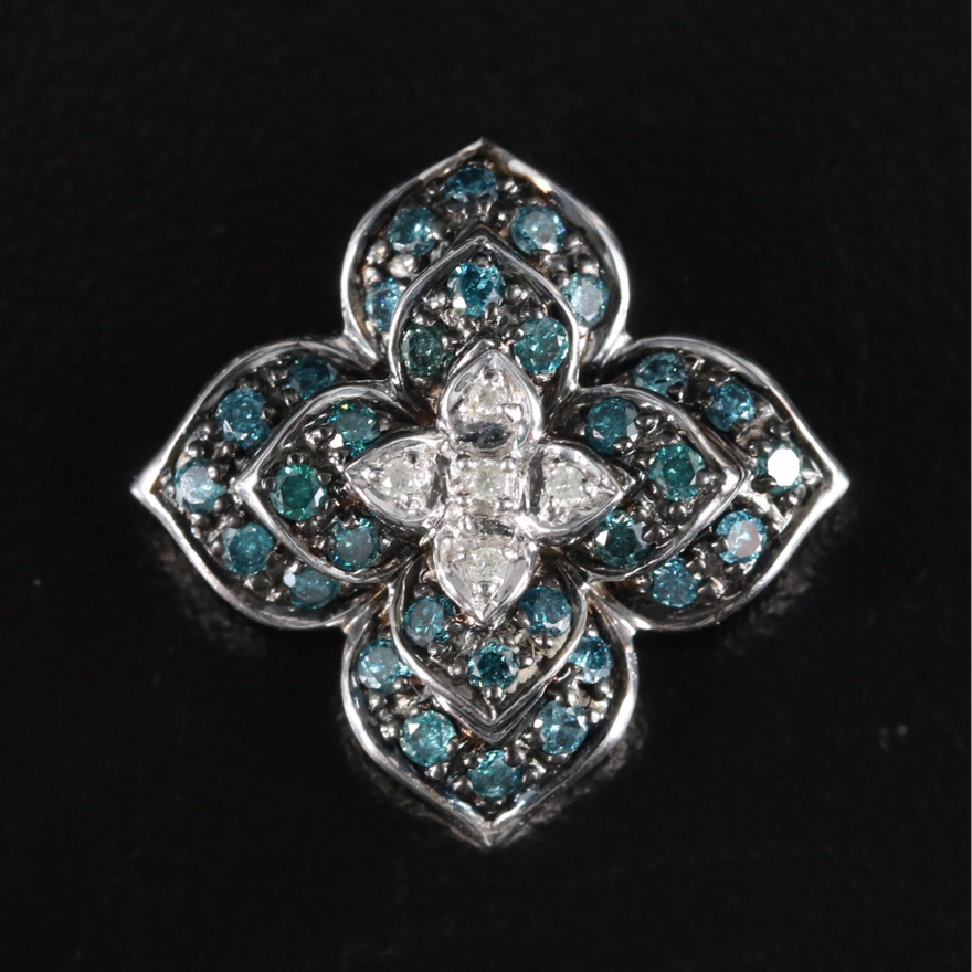 10K 0.66 CTW Diamond Flower Pendant