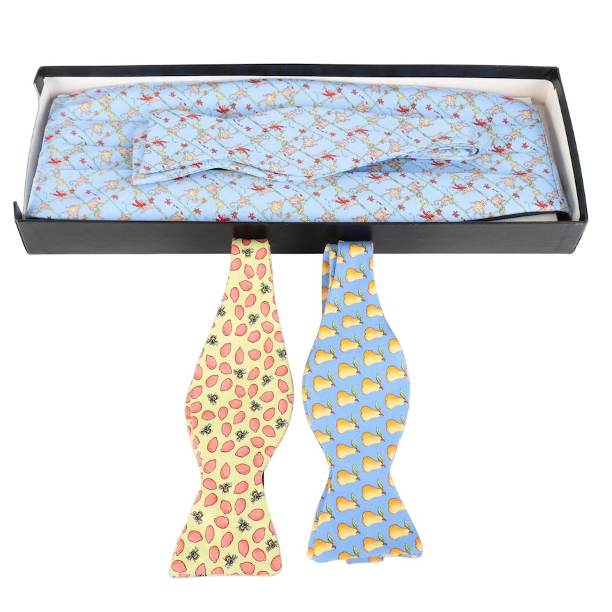 Peter Blair Fruit, Insect, and Monkey Print Bow Ties with Cummerbund