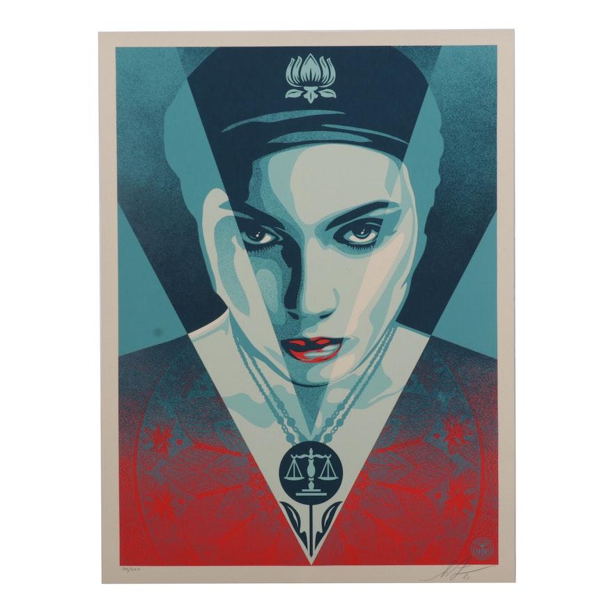 "Shepard Fairey Serigraph ""Justice Woman Blue,"" 2021"