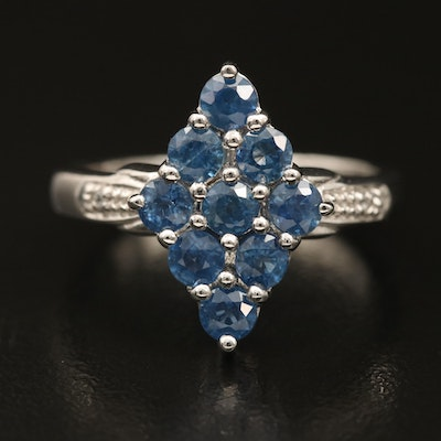 Sterling Sapphire and Zircon Cluster Navette Ring