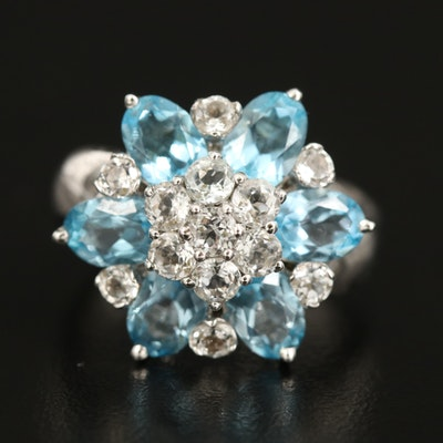 Sterling Swiss Blue and White Topaz Floral Ring