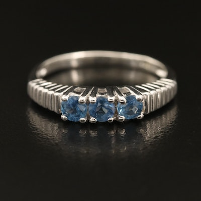 Sterling Sapphire Three-Stone Ring with Fluted Shoulders