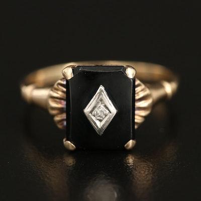 Vintage 10K 0.01 CT Diamond and Black Onyx Ring