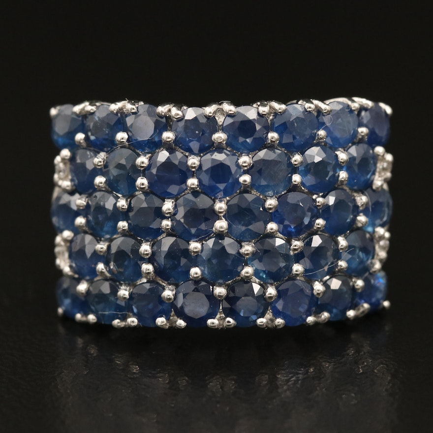 Sterling Sapphire and Zircon Cluster Ring