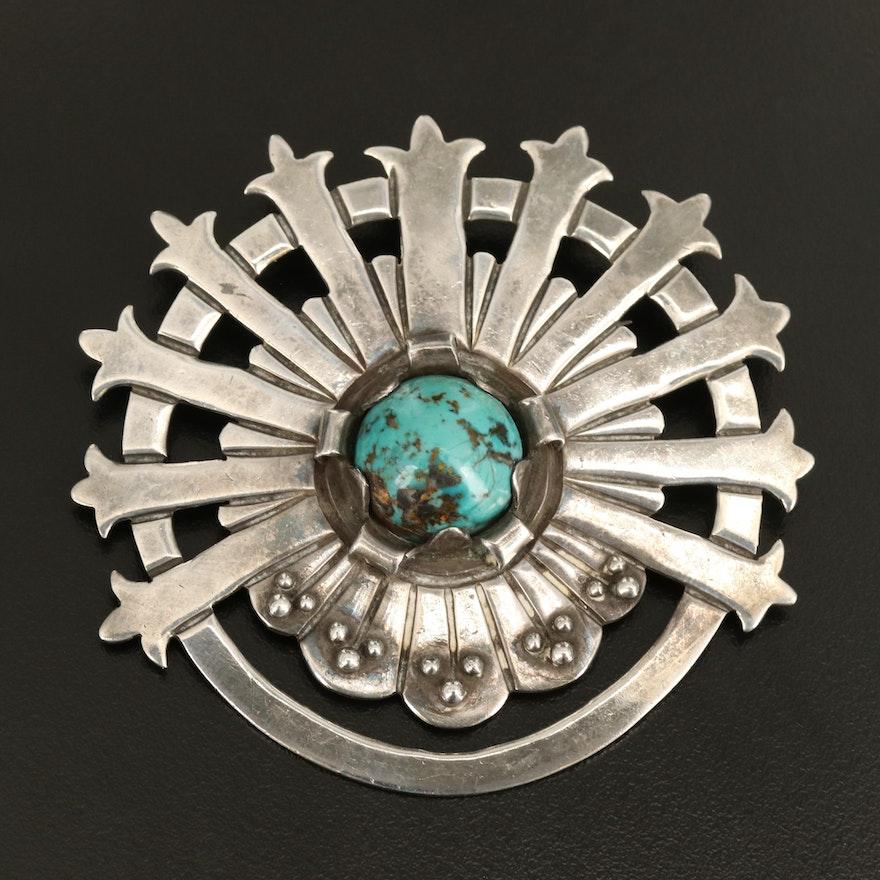 Ana Nunez Brilanti Sterling Turquoise Converter Brooch