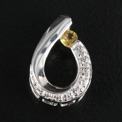 Sterling Sapphire and Zircon Loop Pendant