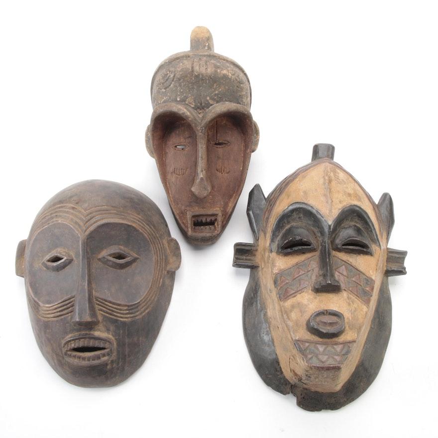Central African Hand-Carved Wood Masks