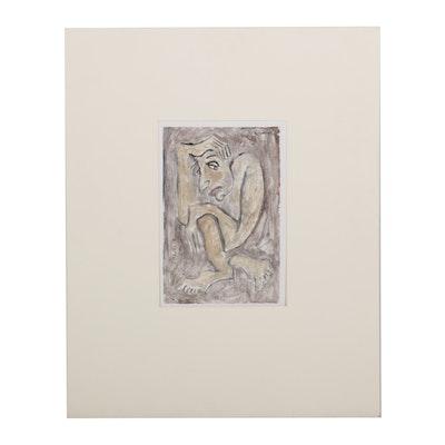 "Adnan Charara Color Monotype ""Forelorn,"" 2003"