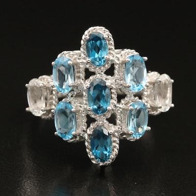14K London, Swiss Blue and White Topaz Cluster Ring