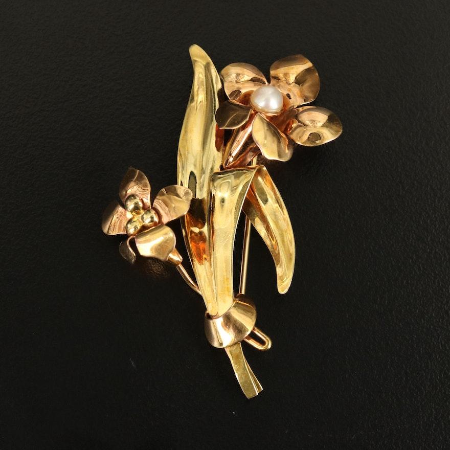 Vintage Carl Art Inc 10K Pearl Flower Brooch