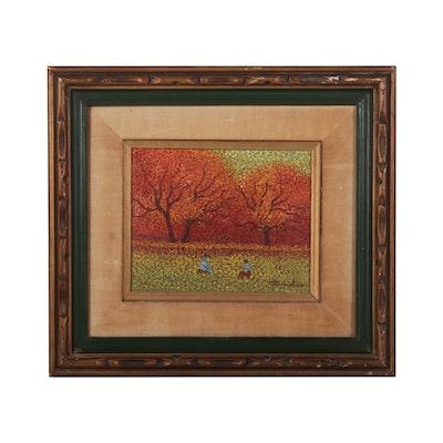 Pointillist Style Landscape Oil Painting