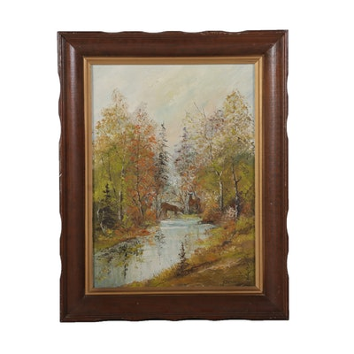 J. Strandberg Oil Painting of Deer Drinking From Forest Stream, Mid-20th Century