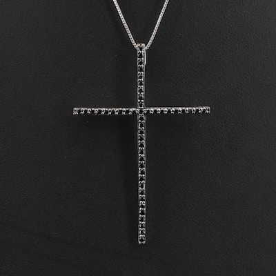 Sterling Spinel Cross Pendant Necklace