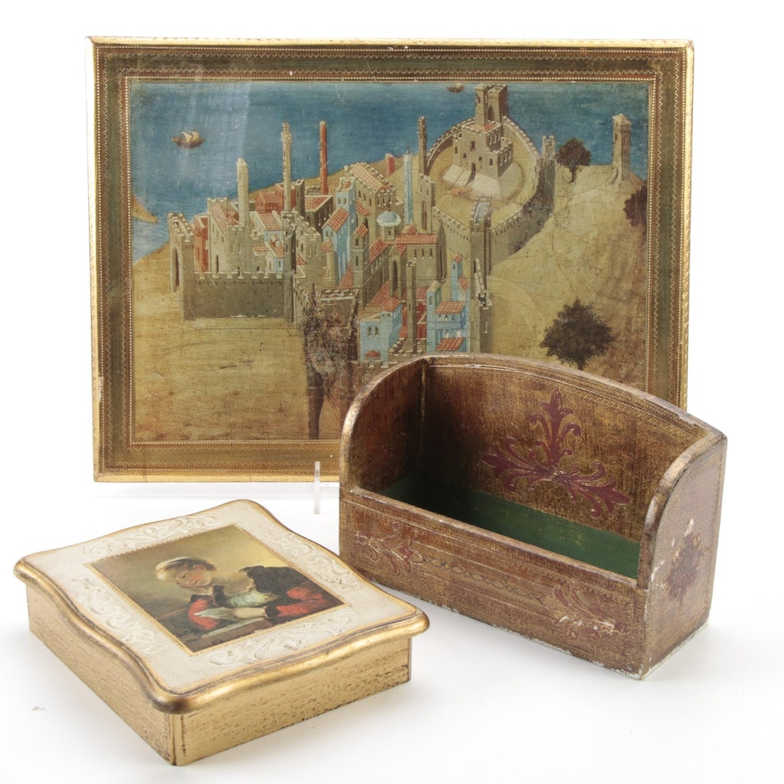 Florentine Giltwood Jewelry Box and Other Decorative Accessories