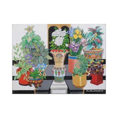 Dorothea S. Wendlandt Still Life Oil Painting of Flower Vases, Circa 2000