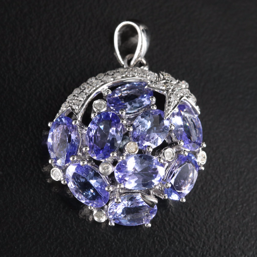 Sterling Shooting Star Cluster Pendant with Tanzanite and Diamond