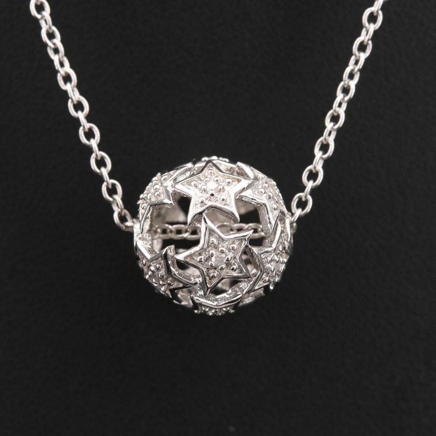 Eva LaRue Sterling Diamond Star Openwork Pendant Necklace