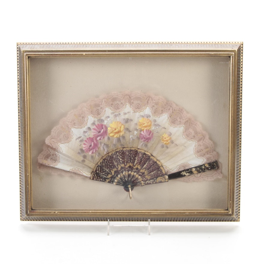 Framed Hand-Painted Lace Trimmed Hand Fan