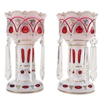 Bohemian Style Hand-Painted White Cased Glass Cut to Cranberry Mantel Lusters