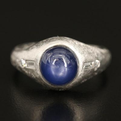 Platinum Star Sapphire and Diamond Ring with Florentine Finish