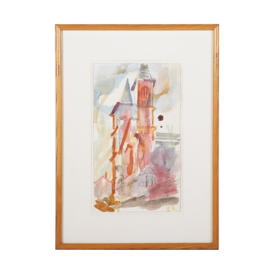 """James P. Nelson Watercolor Painting """"St. Augustine's,"""" 1983"""