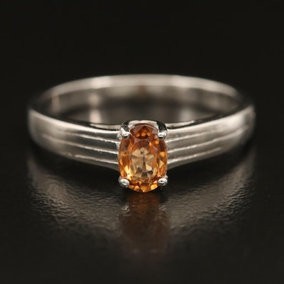 Sterling Zircon Solitaire Band