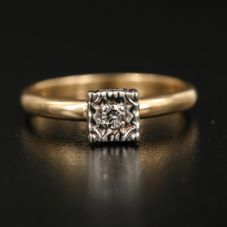 Vintage 14K 0.03 CT Diamond Illusion Set Ring