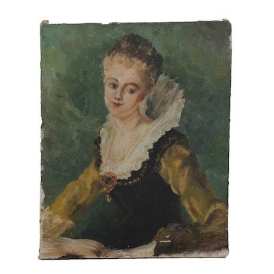"""Portrait Oil Painting After Jean-Honoré Fragonard """"L'étude,"""" 1934"""
