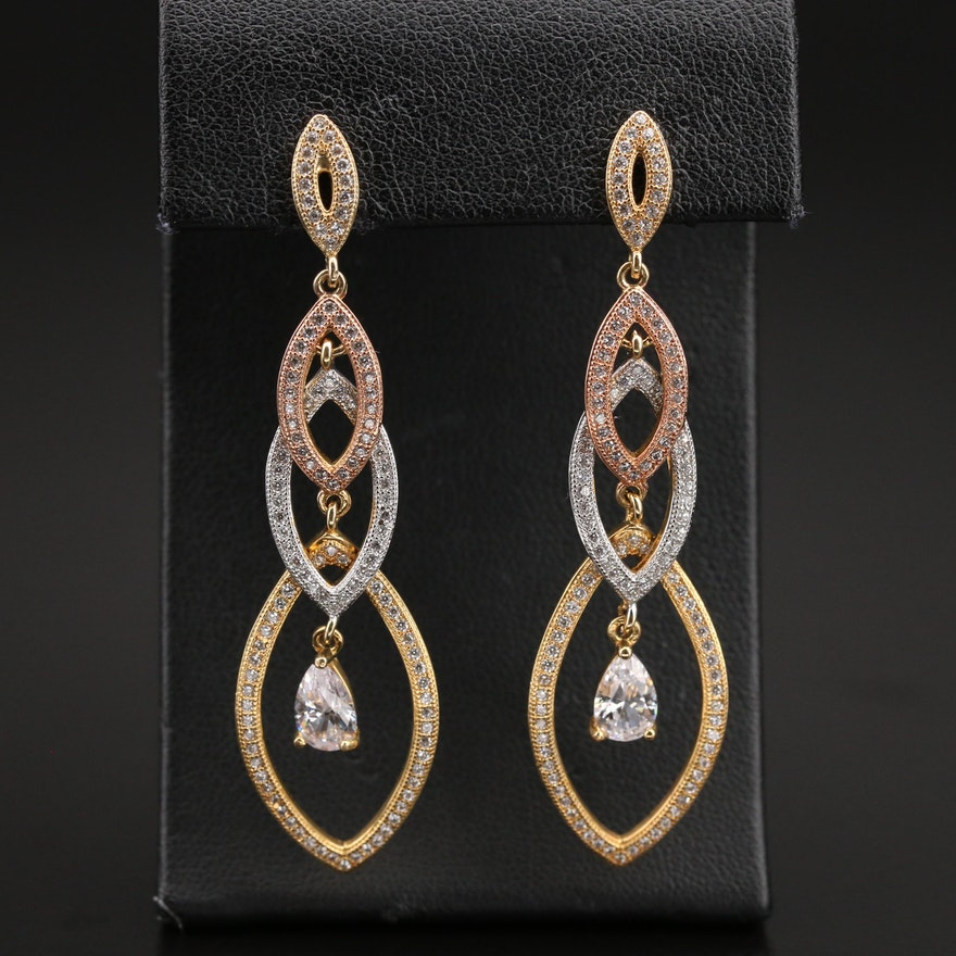 Sterling Tiered Navette Drop Earrings with Cubic Zirconia