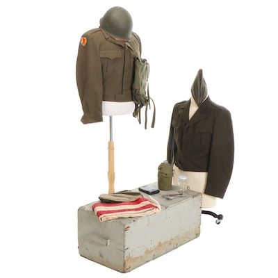 WWII Era U.S. Army Eisenhower Jackets, Garrison Caps, Canteen, and More