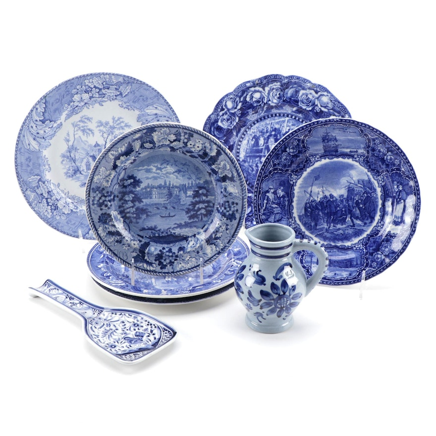 """Enoch Wood & Sons """"Compton Verney"""" and Other Blue and White Tableware"""