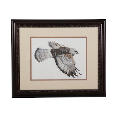Jane Umstead Falcon in Flight Gouache Painting, 2013
