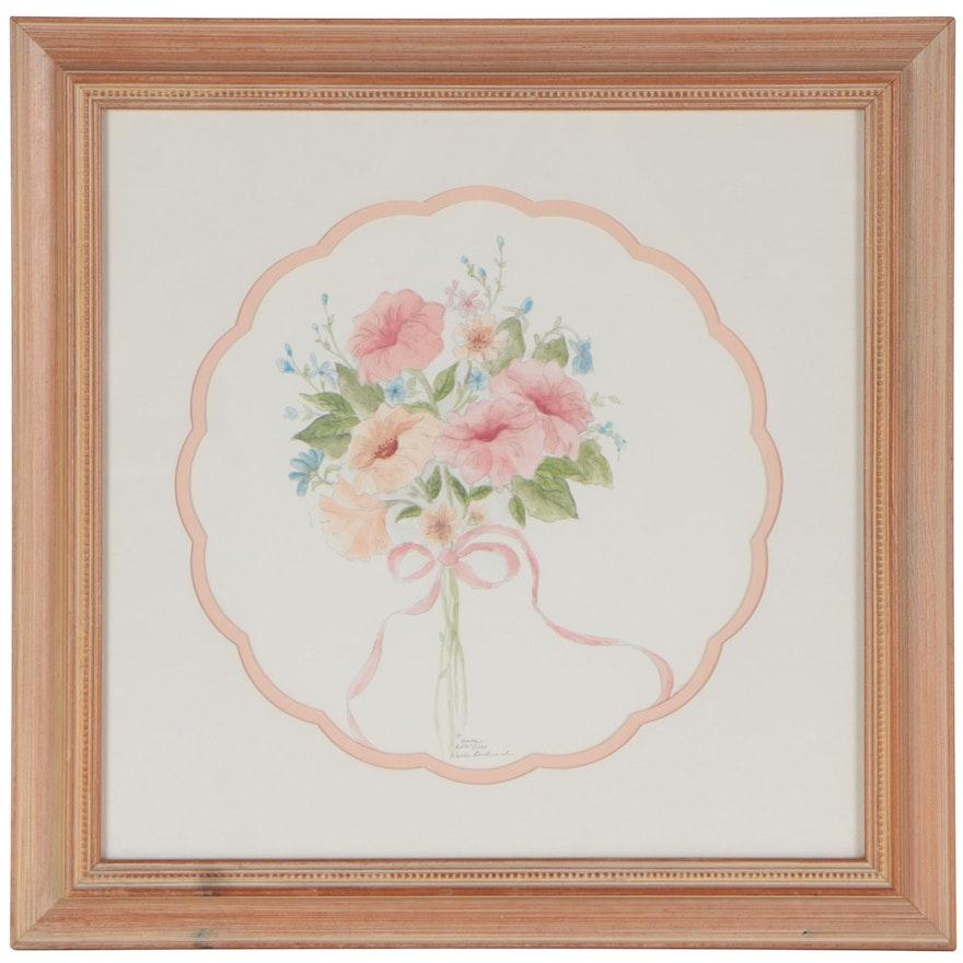 Keela Bertrand Autin Offset Lithograph of Bouquet, Circa 2000