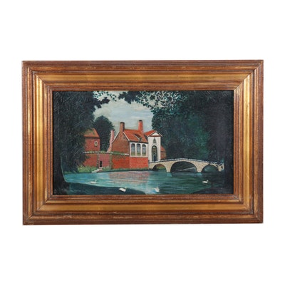 F. C. Vance Bruges Riverside Oil Painting, Late 19th-Early 20th Century