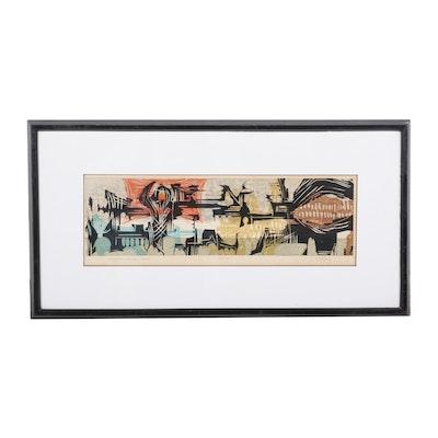 "James T. Lang Woodcut ""Nihonbashi and Ginza - Tokyo,"" Mid to Late 20th Century"