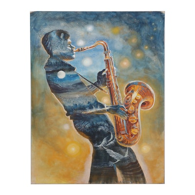 Watercolor and Gouache Painting of Saxophonist, Mid to Late 20th Century