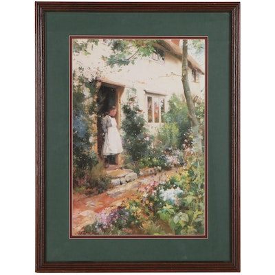 """Offset Lithograph After Alfred Augustus Glendening """"The Cottage Garden"""""""