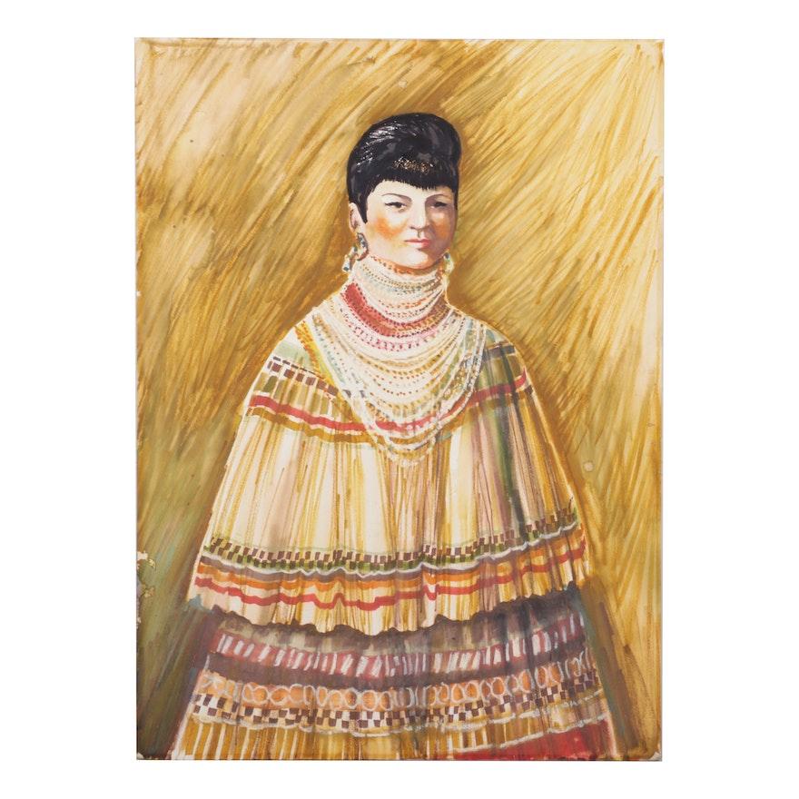 Dorothea Wendlandt Female Portrait Watercolor and Gouache Painting