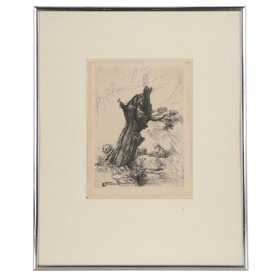 "Rembrandt van Rijn Restrike Etching ""St. Jerome Beside a Pollard Willow"""