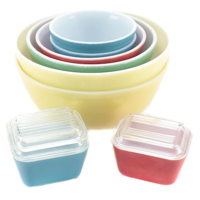 """Pyrex """"Primary Colors"""" Mixing Bowls with Refrigerator Dishes"""