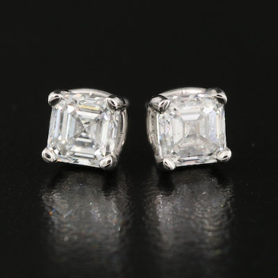 Platinum 1.50 CTW Asscher Cut Diamond Stud Earrings with GIA Reports