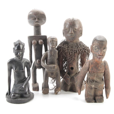 West and Central African Style Carved Wood Figures