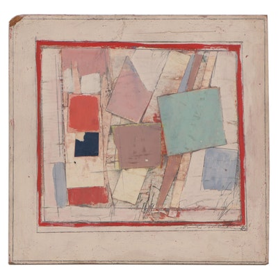 Ronald Ahlström Abstract Mixed Media Painting, 1976