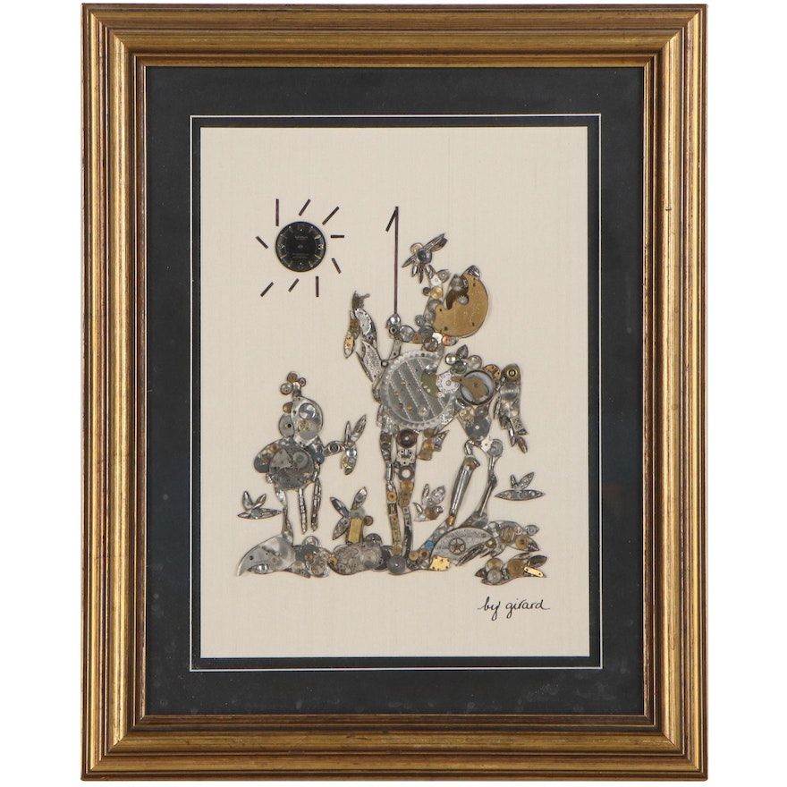 """Girard Watch Pictures Metal Assemblage After Pablo Picasso """"Don Quixote"""""""