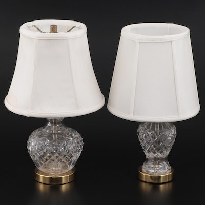 """Waterford Crystal """"Giftware"""" Lamps with White Fabric Shades"""