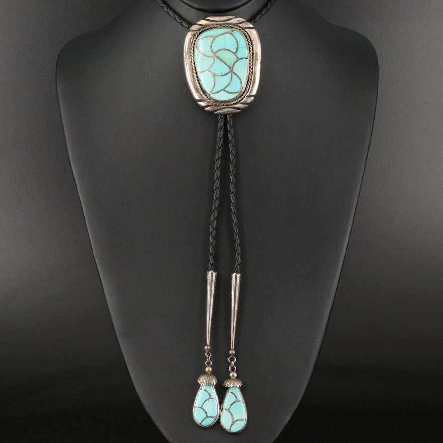 Signed Southwestern Sterling and Turquoise Bolo Tie