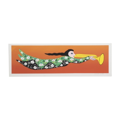 "Howard Finster Folk Art Serigraph ""At the Sound of His Trumpet,"" Circa 1990"