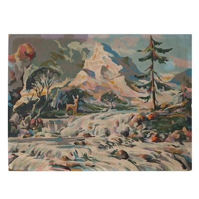 Mountain Landscape Acrylic Painting, Mid-20th Century