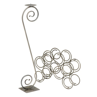 Contemporary Bent Metal Wine Rack and Floor Candle Holdler