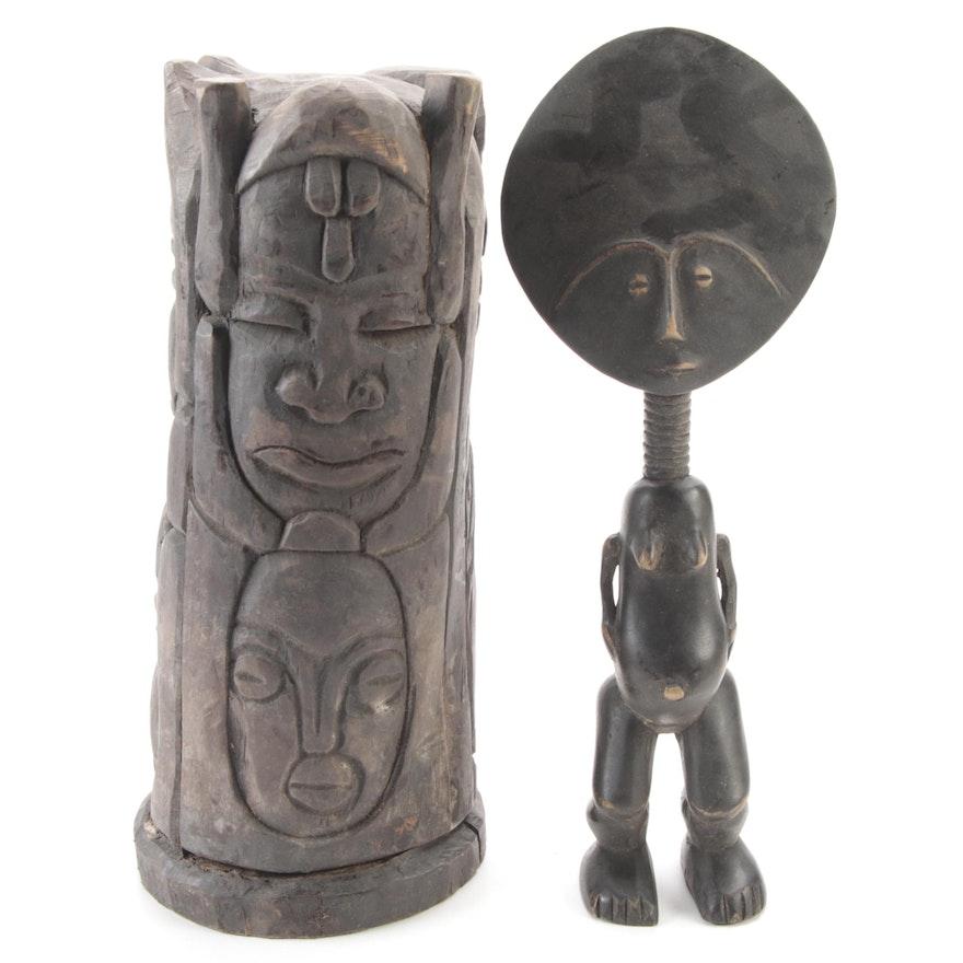 Asante Inspired Figure and Central African Pillar